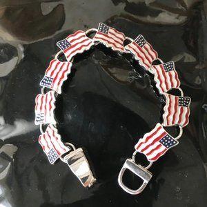 American Flag Bracelet  Magnetic Closure July 4